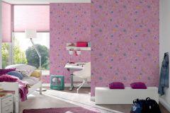 30460-2 cikkszámú tapéta.Gyerek,rajzolt,természeti mintás,virágmintás,kék,pink-rózsaszín,sárga,zöld,gyengén mosható,papír tapéta