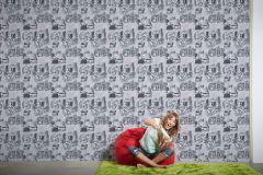 30468-1 cikkszámú tapéta.Emberek-sztárok,feliratos-számos,gyerek,különleges motívumos,fehér,fekete,szürke,gyengén mosható,papír tapéta