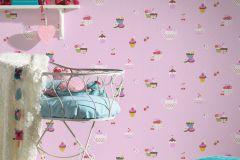 30568-2 cikkszámú tapéta.Gyerek,különleges motívumos,barna,fehér,kék,narancs-terrakotta,pink-rózsaszín,piros-bordó,sárga,zöld,gyengén mosható,papír tapéta