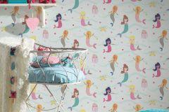 30569-1 cikkszámú tapéta.Gyerek,bézs-drapp,kék,lila,narancs-terrakotta,pink-rózsaszín,sárga,zöld,gyengén mosható,papír tapéta