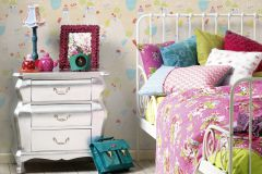 30595-1 cikkszámú tapéta.Gyerek,bézs-drapp,kék,lila,narancs-terrakotta,piros-bordó,sárga,vajszín,zöld,gyengén mosható,papír tapéta