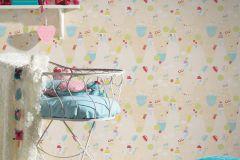 30595-1 cikkszámú tapéta.Gyerek,bézs-drapp,kék,lila,narancs-terrakotta,piros-bordó,sárga,zebra,zöld,gyengén mosható,papír tapéta