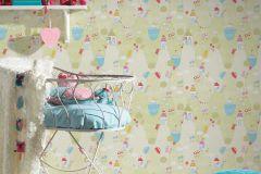 30595-2 cikkszámú tapéta.Gyerek,fehér,kék,lila,narancs-terrakotta,pink-rózsaszín,piros-bordó,sárga,zöld,gyengén mosható,papír tapéta