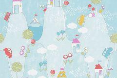 30595-3 cikkszámú tapéta.Gyerek,bézs-drapp,fehér,kék,lila,narancs-terrakotta,pink-rózsaszín,piros-bordó,sárga,türkiz,zöld,gyengén mosható,papír tapéta