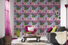 30596-1 cikkszámú tapéta.Feliratos-számos,gyerek,fehér,kék,lila,narancs-terrakotta,pink-rózsaszín,piros-bordó,szürke,türkiz,zöld,gyengén mosható,papír tapéta