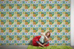 30596-2 cikkszámú tapéta.Feliratos-számos,gyerek,bézs-drapp,fehér,fekete,kék,lila,narancs-terrakotta,sárga,szürke,zöld,gyengén mosható,papír tapéta
