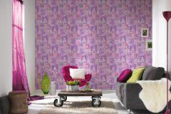 30597-1 cikkszámú tapéta.Gyerek,fehér,lila,narancs-terrakotta,gyengén mosható,papír tapéta