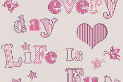 8982-10 cikkszámú tapéta.állatok,feliratos-számos,gyerek,bézs-drapp,fehér,pink-rózsaszín,gyengén mosható,illesztés mentes,papír tapéta