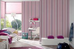 8983-19 cikkszámú tapéta.Csíkos,gyerek,fehér,lila,pink-rózsaszín,gyengén mosható,illesztés mentes,papír tapéta
