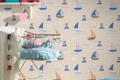 93554-8 cikkszámú tapéta.Gyerek,bézs-drapp,fehér,kék,narancs-terrakotta,türkiz,gyengén mosható,illesztés mentes,papír tapéta