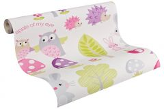 93555-1 cikkszámú tapéta.állatok,gyerek,barna,bézs-drapp,fehér,fekete,lila,pink-rózsaszín,sárga,szürke,vajszín,zöld,gyengén mosható,papír tapéta