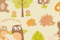 93555-2 cikkszámú tapéta.állatok,gyerek,barna,bézs-drapp,fehér,fekete,narancs-terrakotta,sárga,zebra,zöld,gyengén mosható,papír tapéta