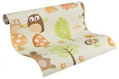 93555-2 cikkszámú tapéta.állatok,gyerek,barna,bézs-drapp,fehér,fekete,narancs-terrakotta,sárga,vajszín,zöld,gyengén mosható,papír tapéta