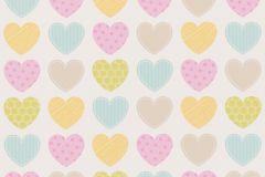 93566-2 cikkszámú tapéta.Gyerek,fehér,kék,narancs-terrakotta,pink-rózsaszín,sárga,türkiz,vajszín,zöld,barna,bézs-drapp,gyengén mosható,papír tapéta