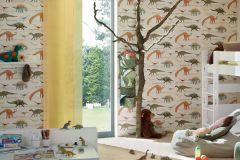 93633-1 cikkszámú tapéta.állatok,feliratos-számos,gyerek,barna,bézs-drapp,narancs-terrakotta,sárga,zöld,gyengén mosható,papír tapéta