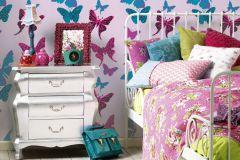 93634-2 cikkszámú tapéta.állatok,gyerek,fekete,kék,pink-rózsaszín,gyengén mosható,illesztés mentes,papír tapéta