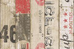 95950-1 cikkszámú tapéta.Fa hatású-fa mintás,feliratos-számos,gyerek,barna,bézs-drapp,fehér,fekete,piros-bordó,szürke,gyengén mosható,papír tapéta
