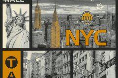 30045-1 cikkszámú tapéta.Dekor,feliratos-számos,különleges felületű,metál-fényes,fehér,fekete,sárga,szürke,papír tapéta