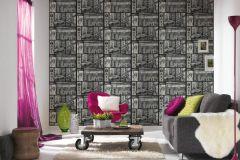 30045-2 cikkszámú tapéta.Dekor,feliratos-számos,különleges felületű,metál-fényes,fehér,fekete,szürke,papír tapéta