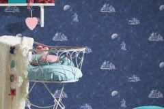 30489-1 cikkszámú tapéta.Dekor,gyerek,különleges felületű,rajzolt,fehér,kék,gyengén mosható,illesztés mentes,papír tapéta