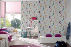 30569-1 cikkszámú tapéta.Gyerek,különleges felületű,rajzolt,barna,bézs-drapp,kék,lila,pink-rózsaszín,sárga,zöld,gyengén mosható,papír tapéta