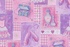 30597-1 cikkszámú tapéta.Gyerek,különleges felületű,rajzolt,lila,pink-rózsaszín,gyengén mosható,papír tapéta