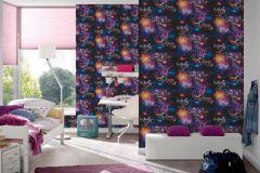 30656-1 cikkszámú tapéta.Feliratos-számos,gyerek,különleges felületű,rajzolt,fekete,kék,lila,narancs-terrakotta,pink-rózsaszín,gyengén mosható,papír tapéta