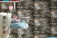 30656-2 cikkszámú tapéta.Feliratos-számos,gyerek,különleges felületű,rajzolt,barna,bézs-drapp,fekete,gyengén mosható,papír tapéta
