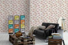 34345-1 cikkszámú tapéta.Gyerek,különleges felületű,metál-fényes,rajzolt,virágmintás,bézs-drapp,fehér,pink-rózsaszín,gyengén mosható,papír tapéta
