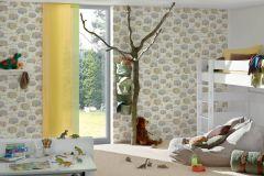 34345-2 cikkszámú tapéta.Gyerek,különleges felületű,metál-fényes,rajzolt,virágmintás,bézs-drapp,fehér,kék,sárga,zöld,gyengén mosható,papír tapéta
