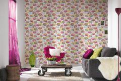 34345-3 cikkszámú tapéta.Gyerek,különleges felületű,metál-fényes,rajzolt,virágmintás,kék,lila,pink-rózsaszín,sárga,szürke,zöld,gyengén mosható,papír tapéta