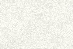 35816-1 cikkszámú tapéta.állatok,különleges felületű,rajzolt,virágmintás,fehér,gyöngyház,lemosható,vlies tapéta