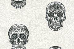 35817-1 cikkszámú tapéta.Különleges felületű,különleges motívumos,rajzolt,virágmintás,ezüst,fehér,fekete,lemosható,vlies tapéta