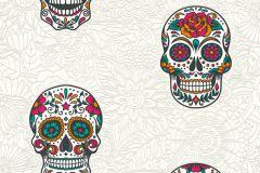 35817-2 cikkszámú tapéta.Különleges felületű,különleges motívumos,rajzolt,virágmintás,fehér,fekete,narancs-terrakotta,pink-rózsaszín,piros-bordó,szürke,zöld,lemosható,vlies tapéta