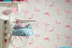 35980-1 cikkszámú tapéta.állatok,különleges felületű,fehér,pink-rózsaszín,zöld,lemosható,vlies tapéta