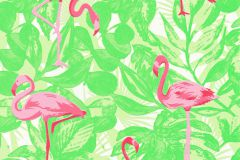 35980-2 cikkszámú tapéta.állatok,különleges felületű,fehér,pink-rózsaszín,zöld,lemosható,vlies tapéta