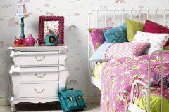 36158-1 cikkszámú tapéta.állatok,dekor,feliratos-számos,gyerek,különleges felületű,rajzolt,fehér,narancs-terrakotta,pink-rózsaszín,sárga,zöld,gyengén mosható,illesztés mentes,papír tapéta