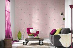 36158-2 cikkszámú tapéta.állatok,dekor,feliratos-számos,gyerek,különleges felületű,rajzolt,fehér,lila,narancs-terrakotta,pink-rózsaszín,sárga,gyengén mosható,illesztés mentes,papír tapéta