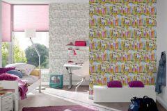 36753-1 cikkszámú tapéta.Gyerek,különleges felületű,rajzolt,barna,fehér,kék,narancs-terrakotta,pink-rózsaszín,sárga,zöld,gyengén mosható,papír tapéta
