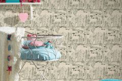 36753-2 cikkszámú tapéta.Gyerek,különleges felületű,rajzolt,bézs-drapp,szürke,gyengén mosható,papír tapéta