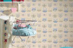 36754-1 cikkszámú tapéta.állatok,gyerek,különleges felületű,rajzolt,bézs-drapp,kék,lila,szürke,gyengén mosható,papír tapéta