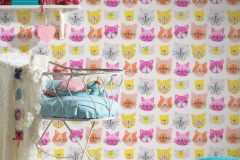 36754-2 cikkszámú tapéta.állatok,gyerek,különleges felületű,rajzolt,narancs-terrakotta,pink-rózsaszín,sárga,gyengén mosható,papír tapéta