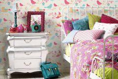 36756-2 cikkszámú tapéta.állatok,csillámos,gyerek,különleges felületű,rajzolt,kék,narancs-terrakotta,pink-rózsaszín,sárga,lemosható,papír tapéta