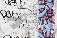 36986-1 cikkszámú tapéta.Feliratos-számos,gyerek,különleges felületű,fehér,kék,pink-rózsaszín,szürke,gyengén mosható,illesztés mentes,papír tapéta