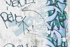 36986-2 cikkszámú tapéta.Feliratos-számos,gyerek,különleges felületű,fehér,fekete,kék,szürke,zöld,gyengén mosható,illesztés mentes,papír tapéta