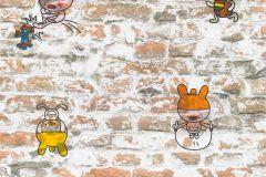 36987-1 cikkszámú tapéta.Gyerek,kőhatású-kőmintás,különleges felületű,rajzolt,bézs-drapp,fehér,narancs-terrakotta,piros-bordó,sárga,zöld,gyengén mosható,papír tapéta