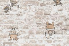 36987-3 cikkszámú tapéta.Gyerek,kőhatású-kőmintás,különleges felületű,rajzolt,barna,bézs-drapp,gyengén mosható,papír tapéta