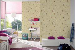 36988-2 cikkszámú tapéta.állatok,gyerek,különleges felületű,rajzolt,barna,fehér,sárga,zöld,gyengén mosható,papír tapéta