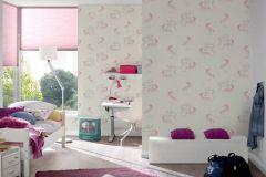 36989-1 cikkszámú tapéta.állatok,csillámos,gyerek,különleges felületű,bézs-drapp,ezüst,fehér,pink-rózsaszín,lemosható,vlies tapéta