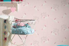 36989-3 cikkszámú tapéta.állatok,csillámos,gyerek,különleges felületű,ezüst,fehér,pink-rózsaszín,lemosható,vlies tapéta